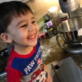 "so happy he is ""making recipe"" with Nana"